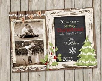 Christmas Photo Card with Digital Chalkboard and wood - printable 5x7
