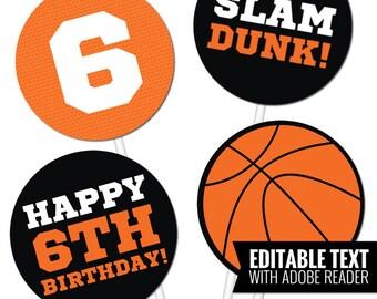 Basketball Centerpieces. Birthday Table Centerpieces - Basketball Team Party Circles - Printable and Editable Sports Centerpieces
