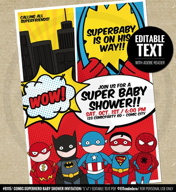 Wild image regarding free printable superhero baby shower invitations