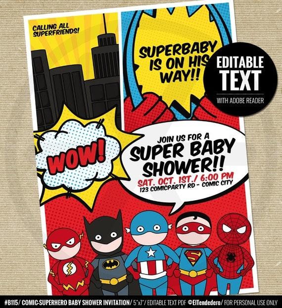 Juicy image inside free printable superhero baby shower invitations