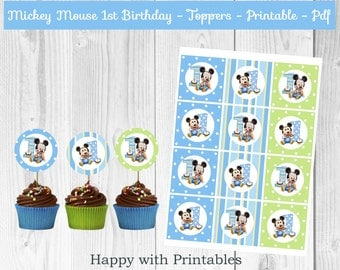 Mickey Mouse 1st bday Toppers - Mickey Mouse cake toppers - 1st bday toppers - Mickey Mouse party - Mickey Mouse 1st birthday cake toppers