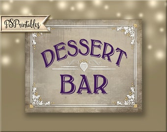 Dessert Bar Printable wedding sign, sweets bar, candy bar, cupcake bar, dessert bar, cookie bar, DIY Wedding printable, Old Lace Collection