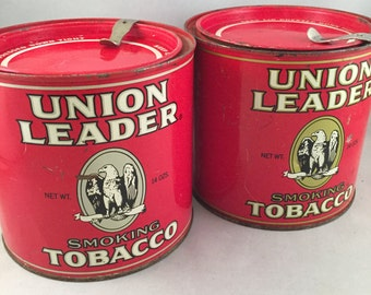 Vintage Union Leader Tobacco Tin, Advertising, Collectible, Set of 2