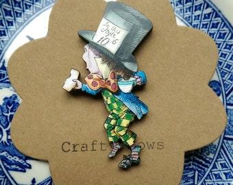Alice in wonderland mad hatter brooch kitsch mad hatter badge mad hatter brooch Alice jewellery