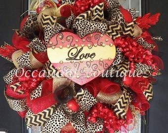 XL Valentine's Wreath, Valentine's Door Hanger, Front door Wreaths, Wreath for Door, Deco Mesh Wreath, Valentine's Day, Made to Order