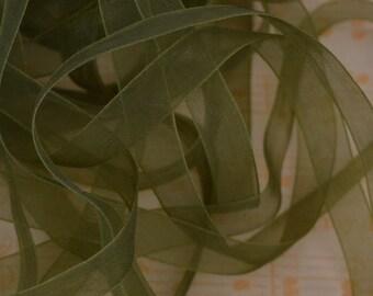 Sheer Organza Ribbon 10mm 3/8 x 5 metres Olive Green R017