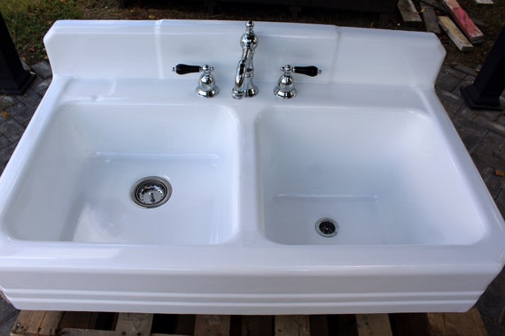 1939 Refinished Double Farm Sink Large Double Basin High Back