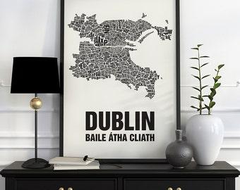 Dublin Typographic Map Screen Print