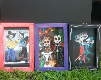 Day of the Dead Dia De Los Muertos Sugar Skull Print on Old Fence Wood