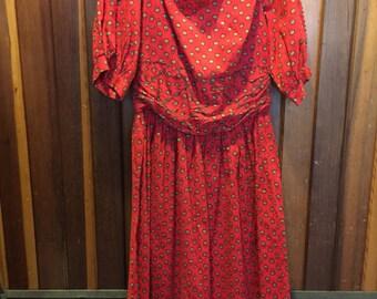 1950S // KERRYBROOKE SEARS // Red & Mustard Floral Print Dress