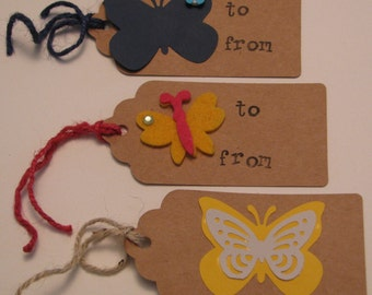 Handmade Paper Gift Tag Assortment - Butterflies