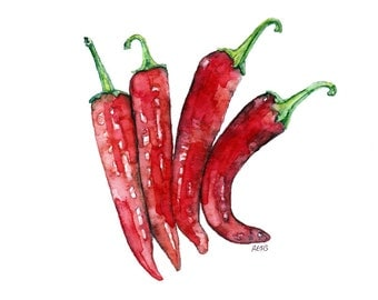 "Hot Pepper Painting - Print from Original Watercolor Painting, ""Cayenne Peppers"", Kitchen Decor, Red Peppers, Vegetable Print"