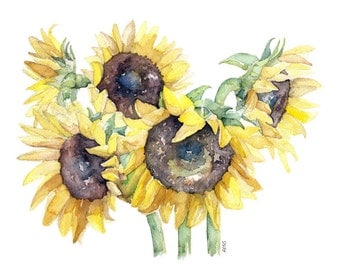"Sunflower Painting - Print from Original Watercolor Painting, ""Picked Sunflowers"", Garden Art, Yellow Sunflower"