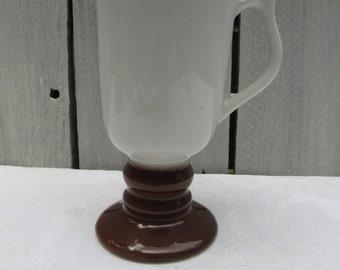 Hall Irish coffee mug, Hall 1278, Hall ceramic replacement coffee mug, Hall white & brown pedestal mug, vintage Hall coffee mug, 2roads2take