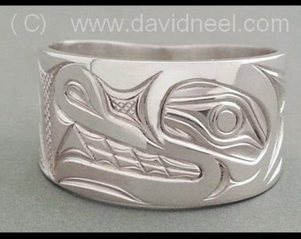 Custom Wide Wolf Ring - Northwest Coast Indian