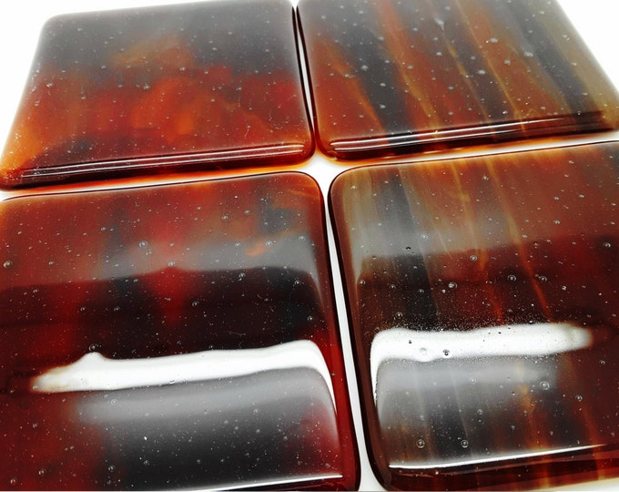 Red brown fused glass coaster set. Handcrafted coasters giftware. house Home decor. Housewarming wedding anniversary leaving birthday gift.