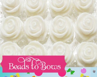 23mm White Rose Beads, Chunky Rose Beads,  Bubblegum Rose Beads, Acrylic Rose Beads, Chunky Rose Bead Supply,  Gumball Rose Supply