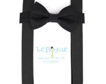 Black Bow Tie and Suspenders: Black Suspenders, Adult Suspenders. Toddler Suspenders, Baby Suspenders, Boys Suspenders, Ring Bearer, Mens