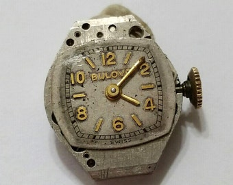 Vintage, Bulova, Wristwatch, Movement, Dial, Steampunk, Altered Art, Mixed Media, Jewelry, Bead, Beading, Supply; working