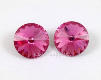 1122 ROSE 12mm Swarovski Crystal Rivoli 6 pieces, Rose Pink October Birthstone