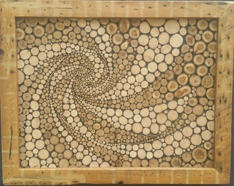Reclaimed Wood Twig Mosaic Framed Complex Spiral