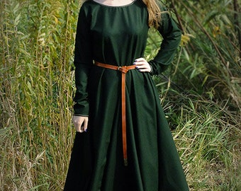 Medieval Dress for historical reenactment, Cotte Simple, wool, costume,