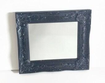 Ornate Black Mirror, Victorian Gothic Black Mirror, Baroque Style Mirror 8x10, Vintage Inspired Black Regency Mirror