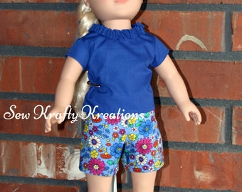 """Blue ruffle neck shirt and flower Shorts Set for 18"""" doll like American Girl"""