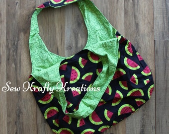 Tote Bag - Watermelon Print with Green Spirals Lining