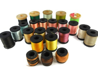 Wood Spools Belding Corticelli Thread Assorted Colors Sizes Polyester Bel Waxed Mercerized Cotton Lot of 24 Craft Sewing
