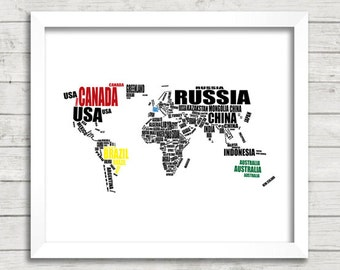 CUSTOM Map of the World, Custom Map Art, Printable World Map, Custom World Map, World Map Printable, Custom Maps, Map Home Decor, 8x10""