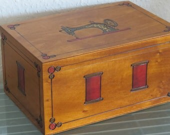 Sewing box sewing basket wood crafted very large XXL