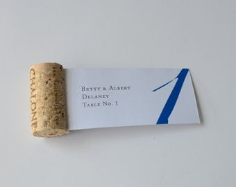 50 Cork Escort Placecard  Flags // Calligraphy or Printed