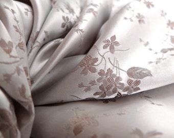 Silk damask vintage fabric yardage / silk jacquard / violet design