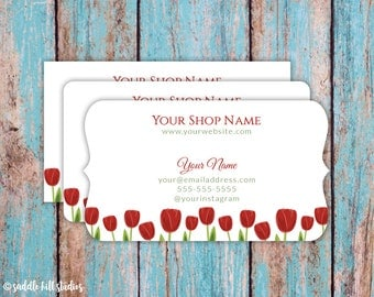 Business Cards - Custom Business Cards - Personalized Business Cards - Mommy Calling Cards - Red Tulips - P0115-7