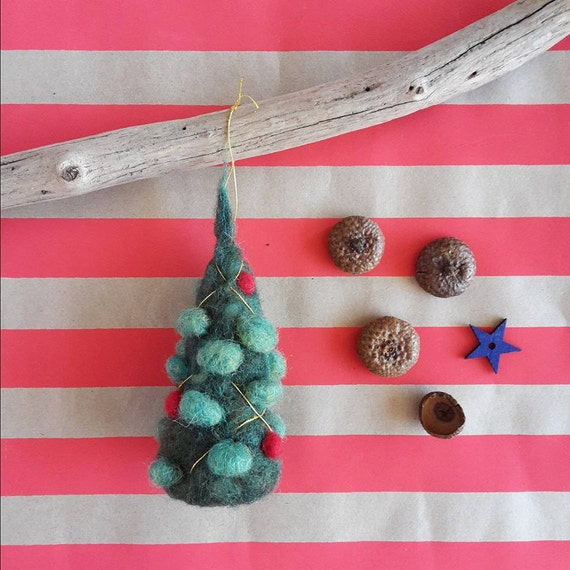 Unique ornament - needle felted Christmas tree - ready to hang - Waldorf inspired decor for holiday Season - tree or table decoration