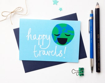 Happy Travels Greetings card, Bon Voyage card, travelling card, holiday card, vacation, good bye card, leaving card, adventures