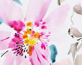 Watercolor Floral Organic Fabric - By The Yard - Girl / Flowers / Pink