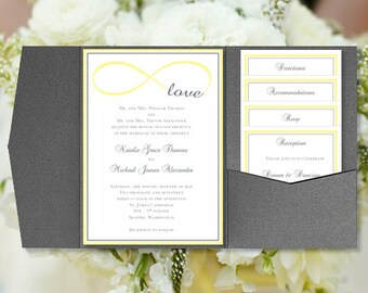 "DIY Pocketfold Wedding Invitations ""Infinity Love"" Yellow & Gray Printable Templates Instant Download Order Any 1 or 2 Colors DIY You Print"