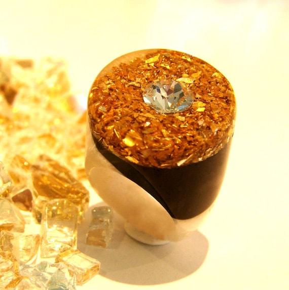 Bling Bling Druzy Resin Ring, Gold Rings, Resin Rings, Spring Rings, Trending Rings, Statement Ring, Unique Modern Rings, ResinHeavenUSA