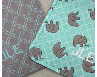 Personalized Elephant Burp Cloths ~ Elephant Baby Shower Gift ~ Gender Neutral Burp Cloths ~ Turquoise and Grey Burp Cloths, Baby Burp Cloth