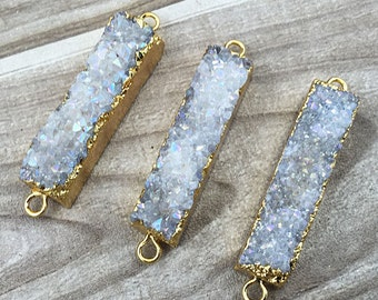 SALE White AB Druzy Rectangle Bar Titanium Agate Druzy Double Bail Connector Pendant with Gold Electroplated Edges (S5W2-16)