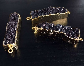 SALE Black Druzy Rectangle Bar Agate Druzy Double Bail Connector Pendant with Gold Electroplated Edges (S5W2-20)
