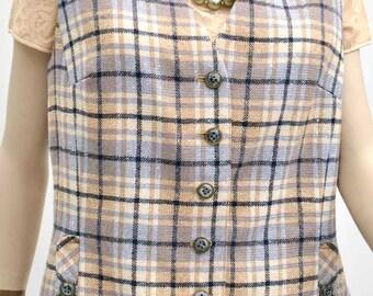 "Women's Vintage 60s Wool Tweed Waistcoat • Vest • Gillet by Dereta 40""B"