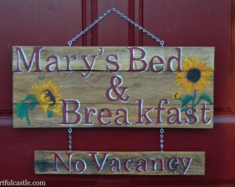 Personalized Bed and Breakfast Sign with Sunflowers and Reversible Vacancy Sign