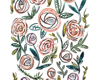 Pastel Roses and Peonies Print