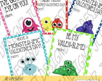 Monster Valentines, Valentines Day, Cute Monster Valentines, Cute Valentines, Monster Theme, Digital, Printable, JCT Designz, Lil' Monsters