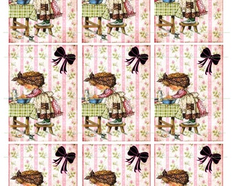 INSTANT DOWNLOAD Little Girl Baking Bow Printable Digital Tags Atc Aceo Cards Altered Art Shabby Background Gift Tags Floral Background Art