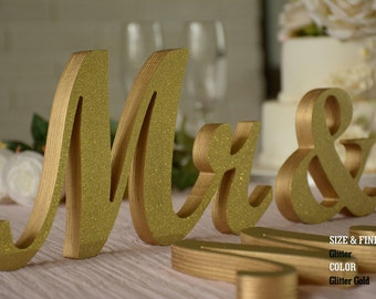Gold Glitter Mr & Mrs Wedding Signs, Mr and Mrs Wood Wedding Decoration