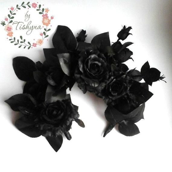 Black Flower Crown Gothic Flower Crown Black Flower: Christmas Party Black Rose Fascinate Headband Calavera